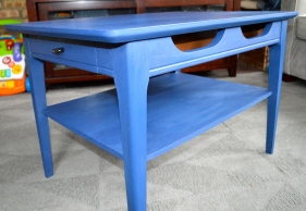 Annie Sloan's Napoleonic Blue Mid Century Side Table