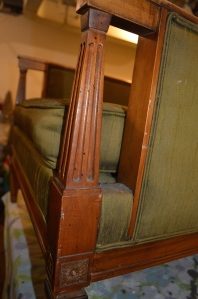 Wood Detail on Green Kroehler Arm Chair