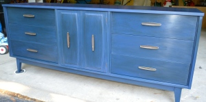 Navy Mid Century Dresser or Buffet