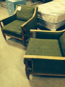 Olive Green Kroehler Mid Century Arm Chairs