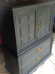 graphite highboy with clear and dark wax