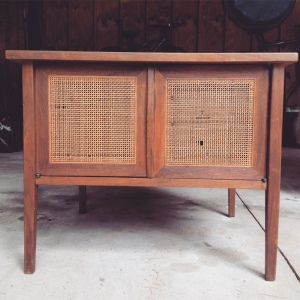 Mid Century Side Table with Cane Doors