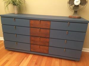 blue and walnut midcentury dresser twice loved