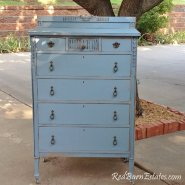Distressed French Blue Highboy Dresser