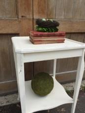 old white table blue egg brown nest