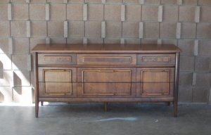 midcentury nine drawer dresser black button vintage
