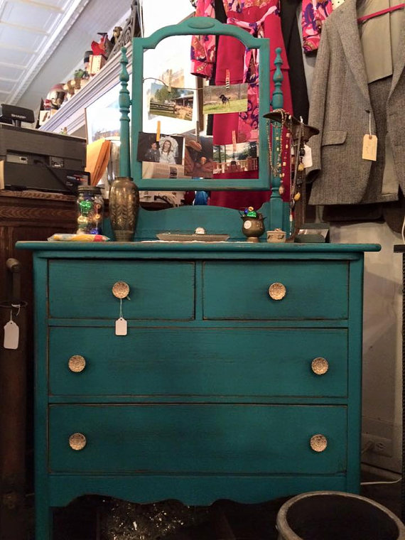 teal dresser with mirror