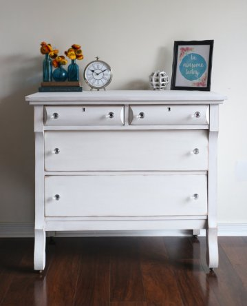 white milk paint dresser restaureddesigns